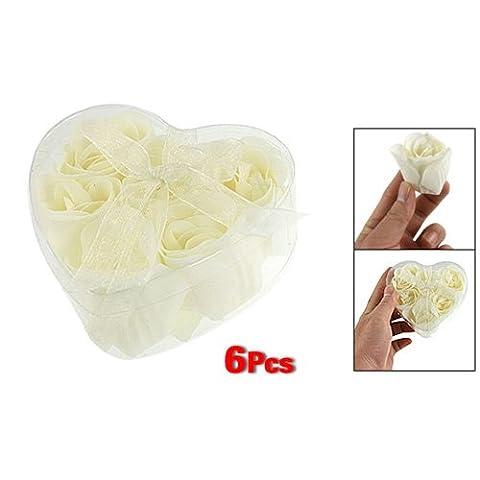 Bathing Shower Off White Rose Flower Bath Soap Petals w Heart Shaped Box - Everest Rose