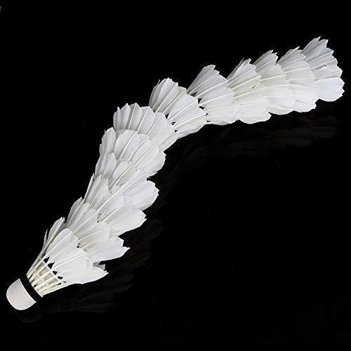 AeeKing Produits de Badminton faciles /à Utiliser 12pcs de Formation Blanc Plume Sarcelle Volants de Badminton appropri/és pour Les Sports de Plein air durables et cr/éatifs