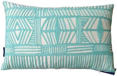 Aitliving - Funda de Almohada de Lona de algodón Bordado Bolero geométrico Decorativo, 100% algodón, Sky Blue Aqua, 30X50cm /12