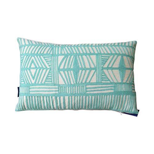 Aitliving Throw Pillow Shell Cotton Canvas 1 pc Geometric Bolero Lumbar Pillowcase Aqua Sky 12x20