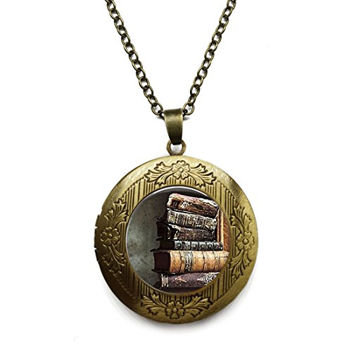 (Vintage Bronze Tone Locket Picture Pendant Necklace Trendy Stack of Antique Books Pendant Included Free Brass Chain Gifts Personalized)