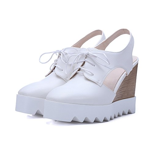 AgooLar Women's Lace-up High-Heels Microfiber Solid Square Closed Toe Sandals White lEP8SZG