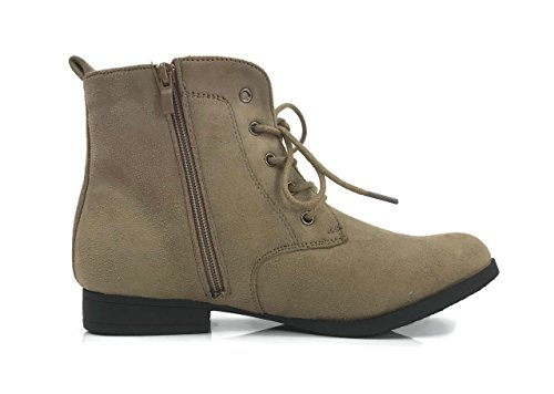 Bootie Suede Toe Faux Ankle Flat Fashion Combat Leather Heel Womens Collection Taupe Round Forever ITwaYw