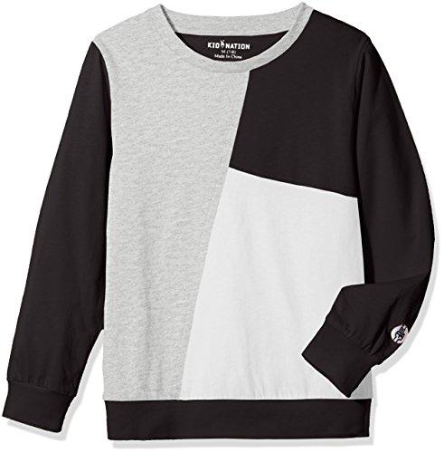 Kid Nation Kids' Long Sleeve Contrast Patchwork T-Shirt for Boys or Girls S (Black Block)