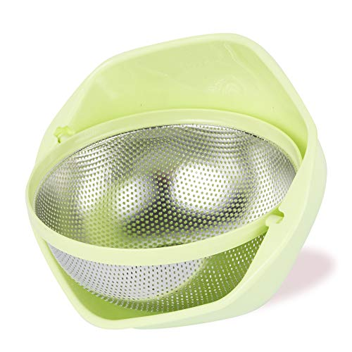Colander BONOW Rotatable Food Strainer Micro-perforated Colander Rust-proof Self-draining Basket for Pasta Spaghetti Veggies Fruits Noodles Salads - Green