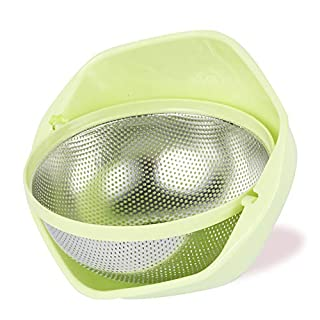 BONOW 2-IN-1 Strainer Colander Rotatable Fruit Baskets for Kitchen Micro-perforated Strainers Detachable Self-draining for Pasta Rice Spaghetti Noodles Salads Vegetables Food- Green