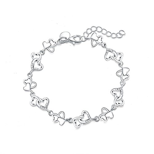 Perlina Novelty - Molyveva Women Girls Stainless Steel Chain Link Bracelets Silver Plated Lobster Clasp Novelty Bracelets (Heart to Heart)