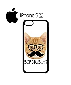 Moustache Cat Ginger Kitten Mobile Cell Phone Case Cover iPhone 5c Black by supermalls