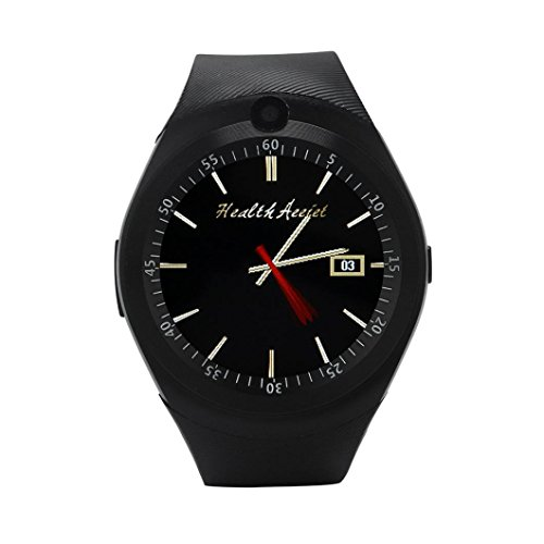 Iusun Smartwatch, Blutooth Smart Watch Phone Mate Full Round Screen SIM Camera Wrist Band Watch For Android (Black)