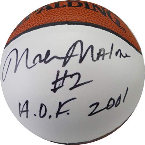 (Moses Malone Hand Signed Autographed Mini Basketball Philadelphia 76ers JSA)