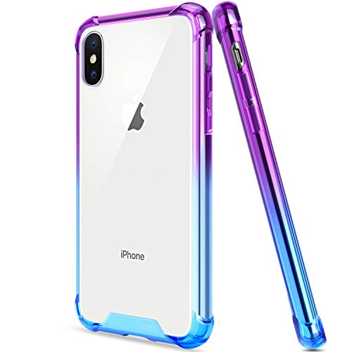 Salawat iPhone Xs Max Case, Clear iPhone Xs Max Case Cute Gradient Anti Scratch Slim Phone Case Cover Reinforced TPU Bumper Shockproof Protective Case iPhone Xs Max 6.5inch 2018 (Blue Purple)