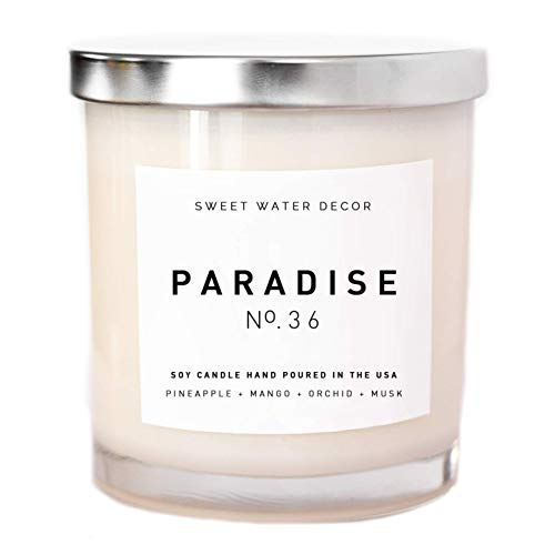 Paradise Natural Soy Wax Candle White Jar Summer Scented Pineapple Mango Orchid Musk Spa Candle Tropical Fruit Candle Modern Farmhouse Home Decor Gift For Her Made in USA Lead Free Cotton Wick