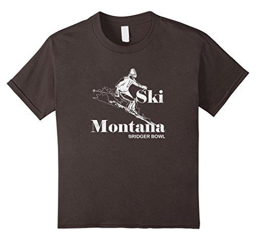Kids Vintage Montana T-Shirt Bridger Bowl Skiing Tee 10 Asphalt (Bridger Bowl)