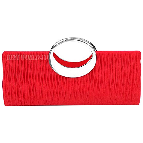 Party Bag Glittery Clutch Handbag Handle Wedding Wocharm Top Bag Bridal Women Purse Wallet Red Fashion Evening Diamante Ladies vFwqSR