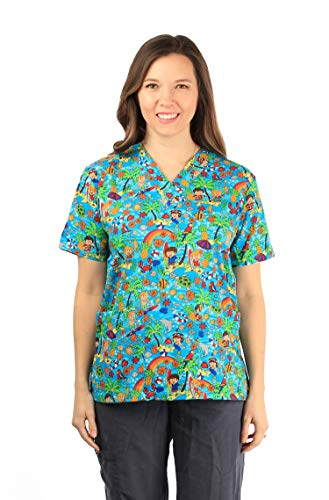 - Made in Hawaii Hawaiian Print Cotton 2 Pockets Scrub Top in Rainbow Dolphin Turtles Blue L