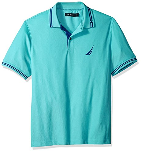 (Nautica Men's Performance Wicking and Stain Resistant Solid Polo Shirt, Bali Bliss, X-Large)
