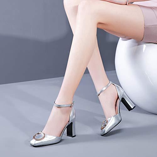 Silver A Spesso Finta Fibbia 39 Sandali Scarpe 3 Parola Alto Donna Sexy Baotou Borsa Moda Pelle Estate Tacco Stile Spillo Pollici Donna Tacchi Con 3 Nuovo silver qFXq7