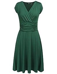Womens Casual Dress A Line Cap Sleeve V Neck Slim Elegant Dresses