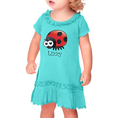 Personalized Custom Girly Ladybug Animal Cute Taped Neck Toddler Short Sleeve Girl Ruffle Cotton Sunflower Dress - Caribbean Blue, 24 Months ()
