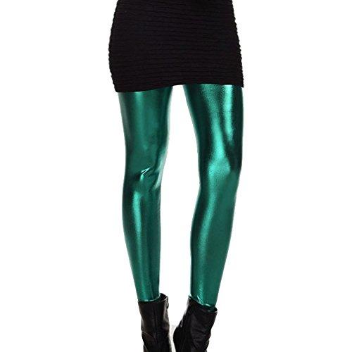 lucidi Pantaloni discoteca Pantaloni Leggings equitazione Verde Pantaloni Scuro bagnati da Mxssi donna da da Leggings anni da '80 equitazione 4SEwqvxEa