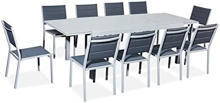 Table de Jardin Extensible Aluminium/Verre 180/240cm + 10 ...
