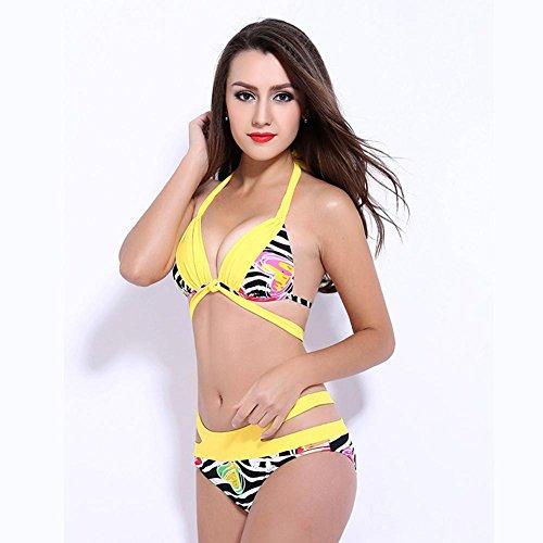 De Europa Y América La Impresión Atractiva Del Bikini / Traje De Baño Traje De Recabar La Atención De Tira Yellow