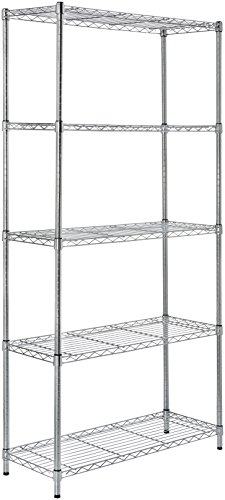 AmazonBasics 5-Shelf Shelving Storage Unit, Metal Organizer Wire Rack, Chrome Silver (Food Places Open Right Now For Delivery)