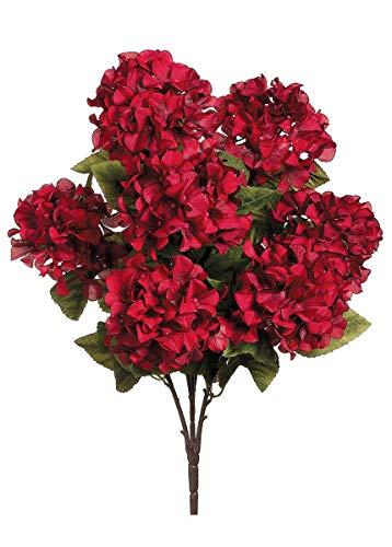 "Allstate Silk Hydrangea Bush in Burgundy - 25"" Tall x 6"" Blooms"