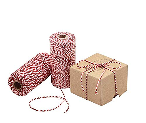 Crafts and Christmas Gift Wrapping Butchers Keyond Red and White Twine 200m Cotton Bakers Twine Perfect for Baking