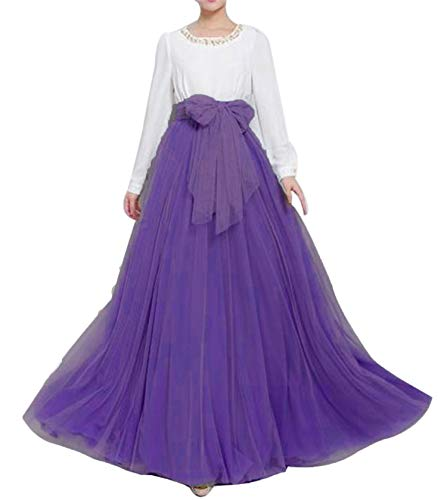 (Women Floor Length Long Maxi Puffy Tulle Skirt A Line with Bowknot Belt High Waisted for Wedding Party Evening (Purple, Plus)