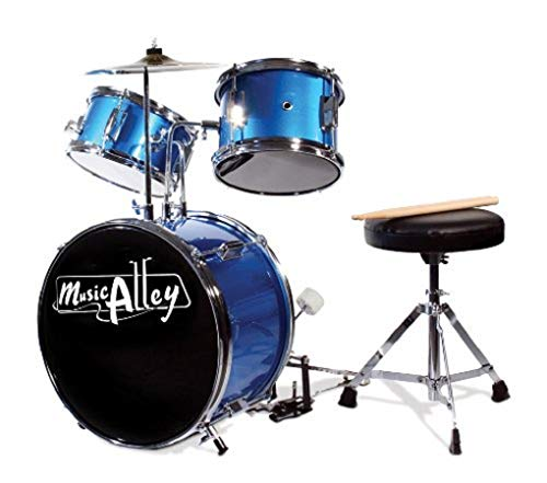 Music Alley Kids 3 Piece Beginners Drum Kit, Blue, inch (DBJK02) (Best Toddler Drum Set)