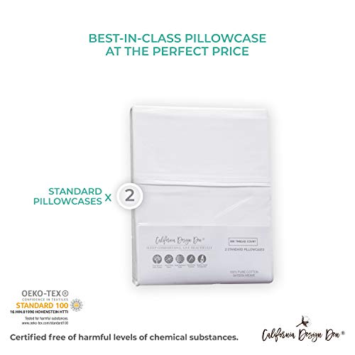 California Design Den 600 Thread Count Pillowcase Set of 2, 100% Long-Staple Combed Cotton, Breathable, Soft Sateen Weave Luxury Hotel Quality Pillow Cases (Standard, Spa) by California Design Den (Image #5)