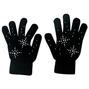@Fedol Girls Ice Skating Gloves Magic Stretch with Rhinestones Snow Flakes