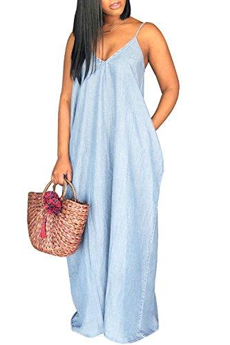 Chuanqi Womens Summer Spaghetti Strap Dresses Casual Denim Deep V Neck Loose Maxi Dress (Medium, Sky Blue)