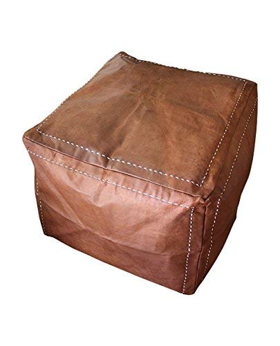 Six Canyons Square Cognac Distressed Leather Ottoman No Stuffing - 20x20x20 Inch Authentic Handmade Moroccan Pouf - Delivered Flat Unstuffed - 100% Morocco Tan Goatskin True Worn Leather