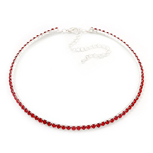 Austrian Necklace Swarovski Crystal (Thin Austrian Crystal Choker Necklace (Hot Red))