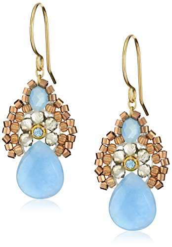 Miguel Ases Blue Jade and Smoky Created Quartz Drop Earrings, 1.4