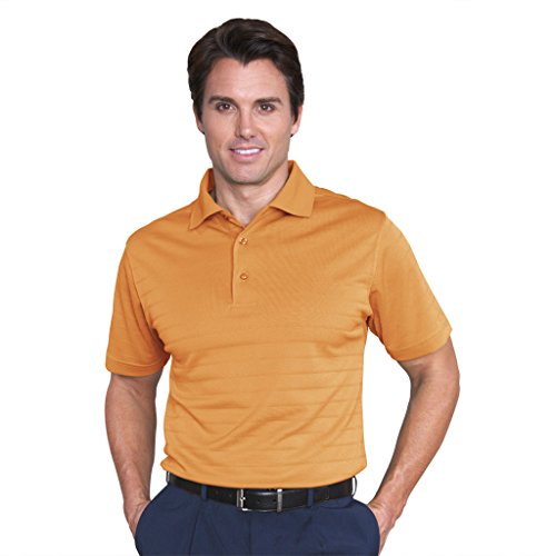Monterey Club Mens Dry Swing Tonal Stripe Texture Polo Shirt #1067 (Burnt Orange, Large)