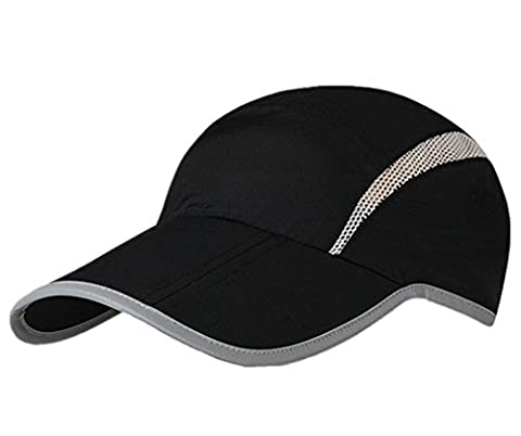 GADIEMKENSD Quick Drying Sports Cap Run Cap Foldable Hat with Reflection Water Repellency Function and Mesh Race Suitable for Running Outdoor Activity 40+ UPF Inhibit UV (Black)