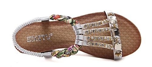 Wedge Heels Open Silver Comfy Aisun Sandals Women's Toe nnaIx