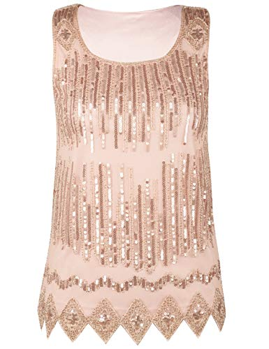PrettyGuide Women's Party Shirt Sequin Embellished Sparkle Sleeveless Vest Top M Rose -