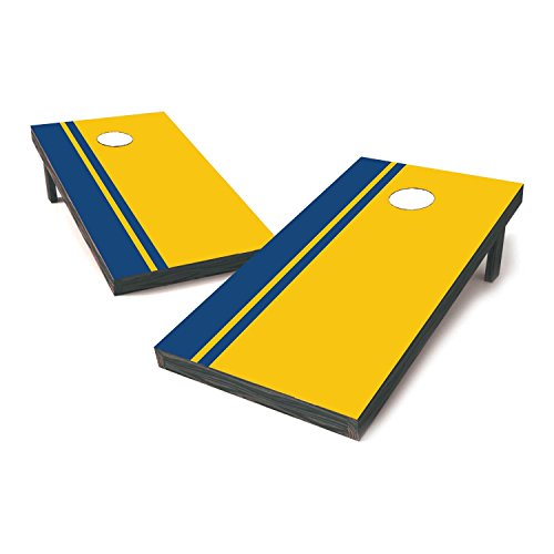 University of Michigan College Football Cornhole Sticker Covers / Cornhole Board Decals / Cornhole Board Stickers / Bag Toss Stickers / Dummy Board Decals (Steelblue & Yellow - Victory Stripes)