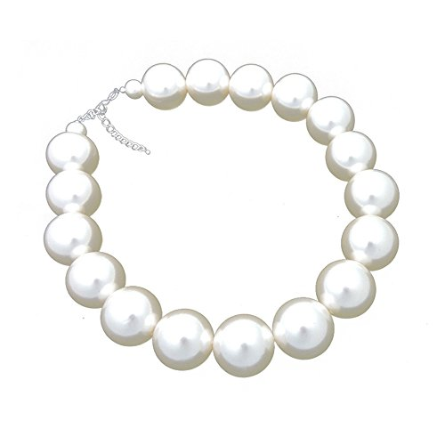 sejin jewelry Big size 25MM Round Imitation Pearl Womens Necklace (Cream) Cream Round Necklace