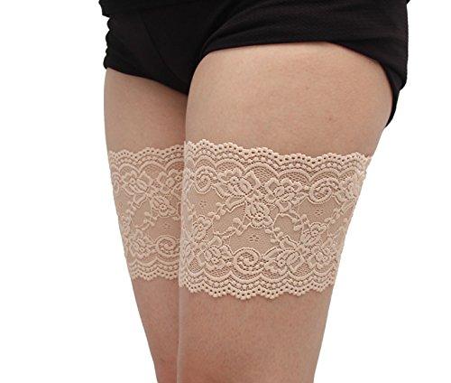Bianco B48 Lkinst un paio di fiori elastici anti-frizione antiscivolo calze di pizzo gamba fascia size A