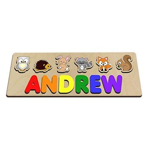 Fox Woodland Animals Personalized Wooden Baby Name Puzzle Great For Kids With Long Names Owl Squirrel Raccoon Rabbit Hedge Hog