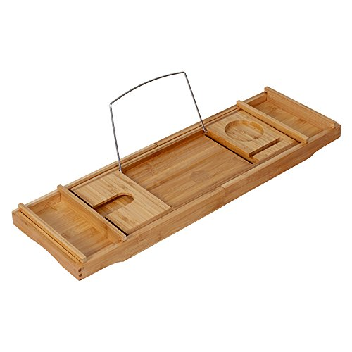 Adjustable Bamboo Bathtub Caddy with wine holder, reading rack, smartphone slot and 2 removable accessory trays price