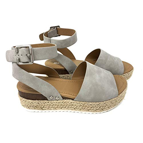 SODA Topic Topshoe Avenue Women's Open Toe Ankle Strap Espadrille Sandal (9 M US, DV-Grey)