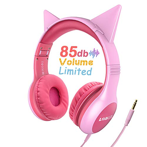 LOBKIN Kids Headphones Cat Ear Wired Headset Volume Limited Protection Headphones with SharePort for Children/Kids,Kids Friendly Safe Food Grade Material On-Ear Headphones for Children Toddler Baby