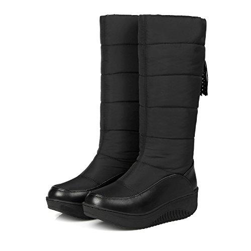 Sqiao-x-hiver Imperméable À L'eau De Laine Chaude Chaude Plume Bottes De Neige Bottes De Femmes, Et Les Chaussures De Coton D'étudiant Avec Épaisse Plaque Noire, 41,