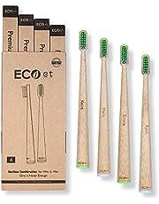 ECOet Spazzolino da denti di Bambù con Setole Morbide per Lui&Lei | Autoportanti | Biodegradabili | Ecologici | Setole Angolate Ondulate | Senza BPA | Anti Batterici | Confezione Riciclabile di 4